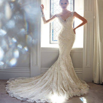 2016 Mermaid Wedding Dresses V Neck Sleeveless Appliques Sweep Train Lace Cheap Bridal Gowns Vestido De Casamento