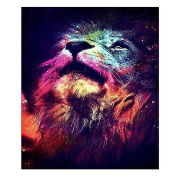 The diamond painting by numbers of wall art DIY wall pictures for living room decoration Starry sky and lion diamond painting