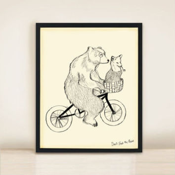 Bear On Bicycle A3 Print