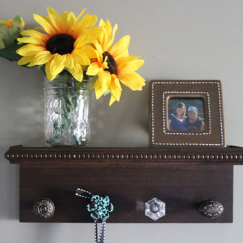 Decorative wall shelf, key holder, brown with turquoise accent wall decor