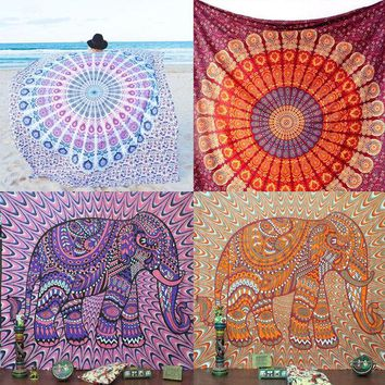 LMF9GW Indian Round Mandala Beach Throw Hippie Tapestry Yoga Mat Towel Bohemian Roundie elephant