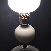 Milk Glass Lamp, Vintage Table Lamp, Glass Hurricane Shade