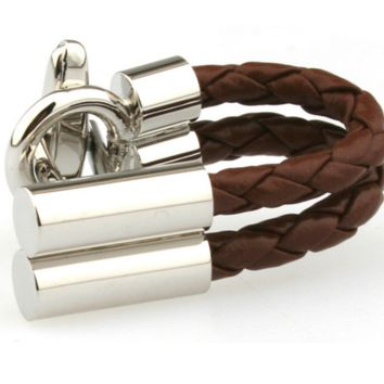 Large Brown Chain Rope Cufflinks