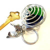 Colorful Dolphin Keychain with Sea Glass in a Wire Cage, Cute Gift Idea for Dolphin Lover, Beach Accessory, Unique Key Ring