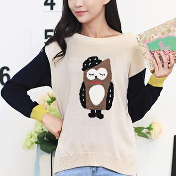 Beige Owl Appliques Patchwork Knit Pullover Sweater