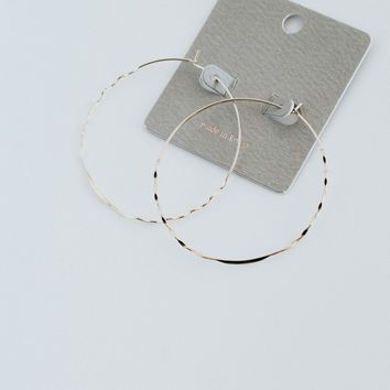 Thin Gold Textured Hoop