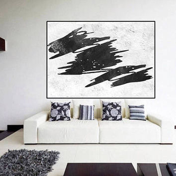 huge large abstract painting on canvas, original painting black and white,, mid century large abstract art, Contemporary Painting