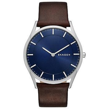 Skagen Mens Holst Starry Starry Night - Blue Dial - Brown Leather Strap