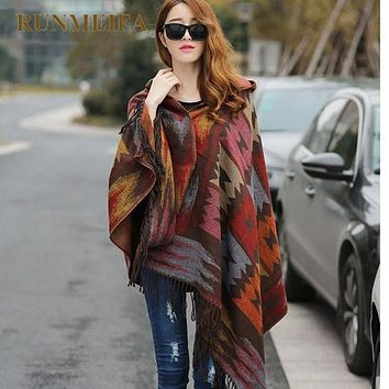 Women's Hooded Shawl Cape Poncho