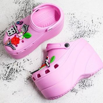 Balenciaga Pink Foam Platform Sandals Crocs Charms Embellished Resin Wedge Clogs With Spikes - Best Deal Online