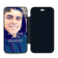 Keep Calm and Love Jack Gilinsky Leather Wallet Flip Case iPhone 4 | 4S