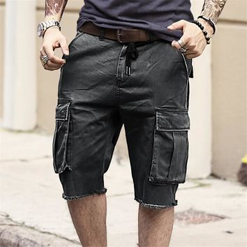 2017 New Casual short Pants Men's Multi-Pocket Tactical cargo shorts military Jeans Short Trousers brand clothing