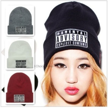2014 Autumn Winter New Beanie Fashion PARENTAL ADVISORY EXPLICIT Beanie Hat Cotton Caps For Men/Women Hip-hop Skullies & Beaniess & Beanies Caps For Men/Women Hip-hop Skullies & Beanies = 1930476100