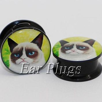 ac DCCKO2Q 1 pair angry cat ear plug gauges tunnel acrylic screw flesh tunnel body piercing jewelry PAP0411