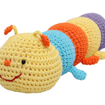 Multicolor Worm Handmade Amigurumi Stuffed Toy Knit Crochet Doll VAC