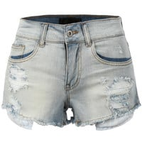 LE3NO Womens Casual High Waisted Distressed Destroyed Cut Off Denim Shorts
