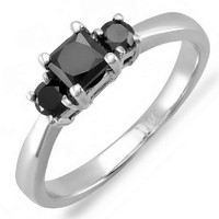0.75 Carat (ctw) 14K White Gold Princess & Round Black Diamond 3 Stone Engagement Ring 3/4 CT (Size 7)
