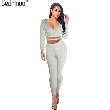 Sedrinuo Fashion Women 2 Pieces Pants Rompers Womens Jumpsuit Sexy Bodycon V-Neck Long Sleeve Two Pieces Outfits Gray Playsuit
