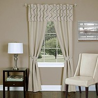 Ben&Jonah Collection Trellis - 5 Piece Window Curtain Set - 55x84 - Tan