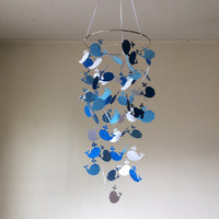 Whale hanging paper mobile! Blue and White Baby nursery mobile, Crib Mobile, Baby Nursery mobile