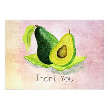 Green Avocado Fruit in Watercolors Thank You Card