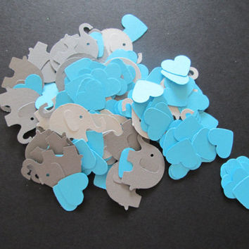 150 greys elephants with aqua hearts- gender neutral confetti, aqua hearts, baby showers, shower confetti, baby shower