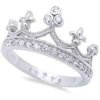 Gorgeous White Cz Crown .925 Sterling Silver Ring Sizes 4-12