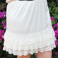 Slip Extender Skirt w/ Layered Lace in Ivory