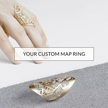 Custom Design, Map Ring, Statement Ring, Custom Order, One of a Kind Gift, Personal Anniversary Gift, Special Location, Graduation Gift,