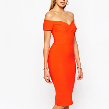River Island Off The Shoulder Bodycon Dress
