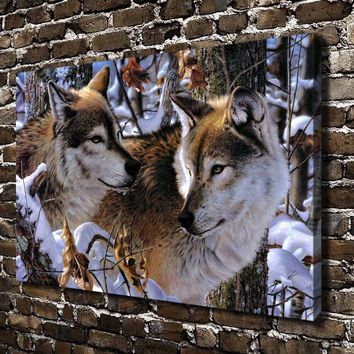 Snow Forest Natural Scenery Animals Wolf. HD Canvas Print Home decoration Living Room bedroom Wall pictures Art painting