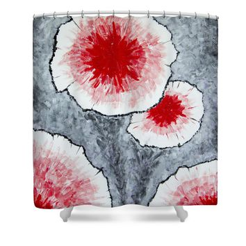 Fantasy Flowers In Red No 1 Shower Curtain for Sale by Ben Gertsberg