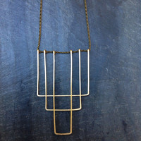 Geometric Art Deco Hammered Gold Necklace- by Loop Jewelry -Gold Rectangle Necklace Art Deco 1920 -Geometric Jewelry- Portland Jewelry