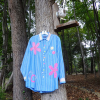 Med/Large Funky Boyfriend Shirt / Upcycled Clothing by UpCdooZ / Eco Clothing