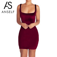 Sexy Women Velvet Party Dresses Winter Sleeveless Body con Office Dress Robe Sexy Backless Bandage Dress Club