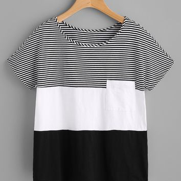 Patch Pocket Front Cut And Sew T-shirt BLACK