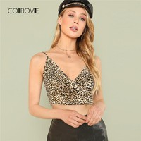 COLROVIE Leopard Print Plunging Rock Cami Top 2018 New Spaghetti Strap Regular Fit Summer Tank Top Sexy Women Camisole Tank