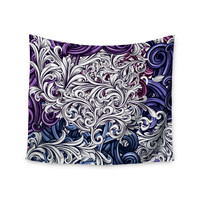 """Nick Atkinson """"Celtic Floral I"""" Purple Abstract Wall Tapestry"""