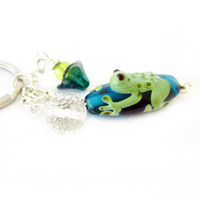 Lamp Work Frog Keychain, Frog and Flower Keychain, Frog Car Accessory, Crystal Beaded Keychain, Pretty Frog and Flower Keyring
