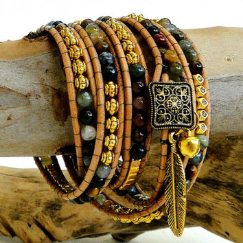 Chan luu multi 5 five leather wrap bracelet boho zen style with Indian gemstone, Tibetan gold plated beads & feather charm and GP bell