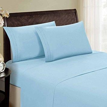 1800 Series Egyptian Collection 3 Line Microfiber 4 Piece Bed Sheet Set (King, Aqua)