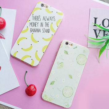 Lemon and banana mobile phone case for iphone 5 5s SE 6 6s 6 plus 6s plus + Nice gift box 71501