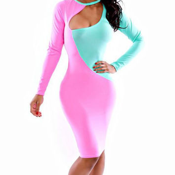 Pink and Green Long Sleeve Color Block Midi Dress