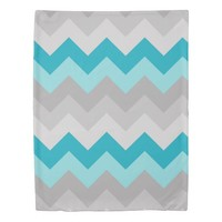 Turquoise Teal Blue Grey Gray Ombre Chevron Girl Duvet Cover