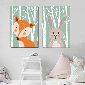 Cartoon Animal Bear Fox Minimalist Art Painting Print Modern Home Kid Room Decor Wall Picture Silk Poster No Frame