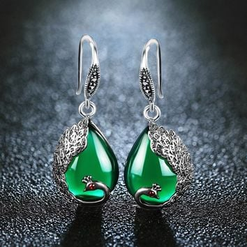 Vintage Green Chalcedony Peacock Shape Bohemian Indian Natural Stone Earrings