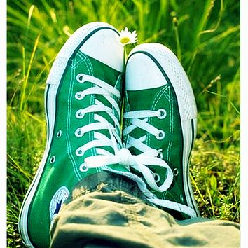 Converse All Star Classic Fashion Couple Casual High Tops Sports Comfort Shoes Sneakers Green I/A