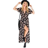 Long Black Maxi Dress with Flowers and Short Sleeves