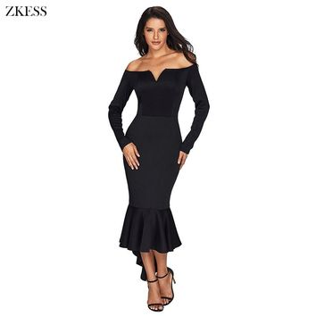 Zkess Women Sexy Off Shoulder Evening Long Dress Elegant Slash Neck Long Sleeve High Low Mermaid Hem Sheath Maxi Dress LC61837