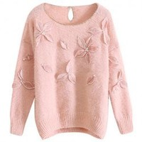 Elegant Style Stereo Applique Flowers Long Sleeve Faux Cony Hair Sweater For Women